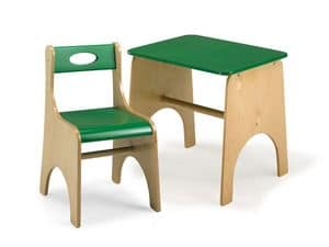 LEILA E LEILA/T, Chair and table for children, made of plywood, for school and play areas