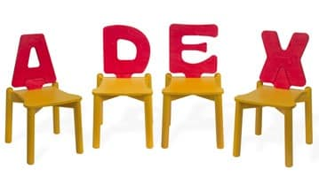 LETTERANDIA, Chairs for children, backrest shped like a letter of the alphabet, for play areas and kindergartens