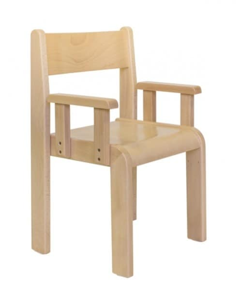 MINNIE/B, Chair with armrests, beech, for nurseries and children's rooms