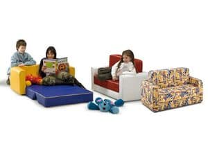 PISOLO, Sofa bed for children, covered with imitation leather or fabric, for kindergarten