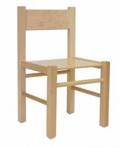 QUADRA, Chair in beech, in simple style, for children
