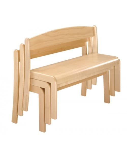 SISSI/P, Stackable bench in beech, in essential style, for children