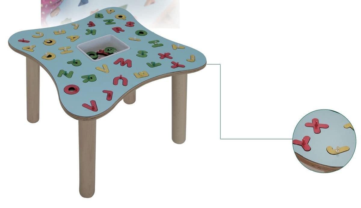 MARAMEO/L, Children's table, legs in beech wood, laminated top, for kindergartens and nursery schools
