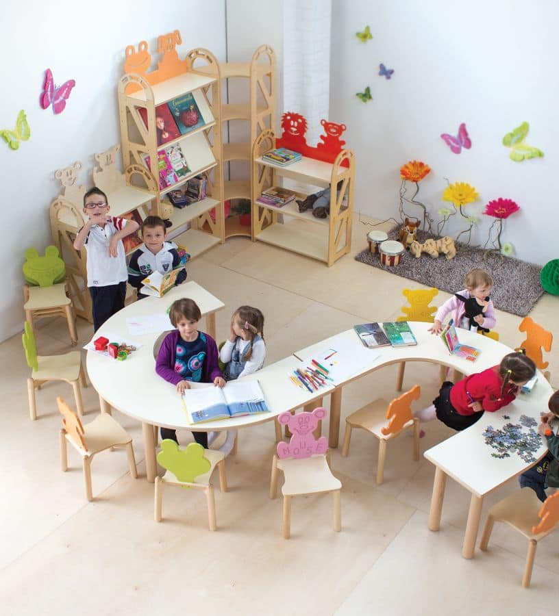 PAPPA, Table in birch plywood for children, available in natural or coloured wood, for nursery schools and kindergartens