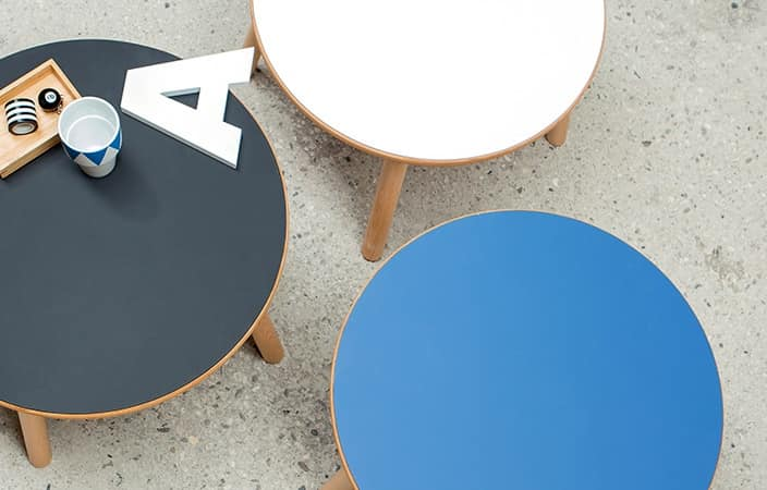 Round little table Bolz, Table for center room, laminate top, simple style