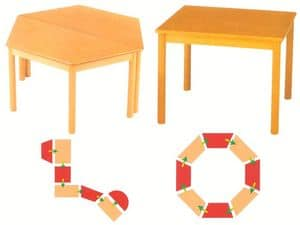 Tavolo componibile, Modular tables, made of beech wood, for kindergarten and school