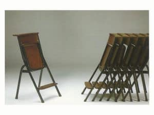 1273 N, Simple chair with metal frame, for places of worship