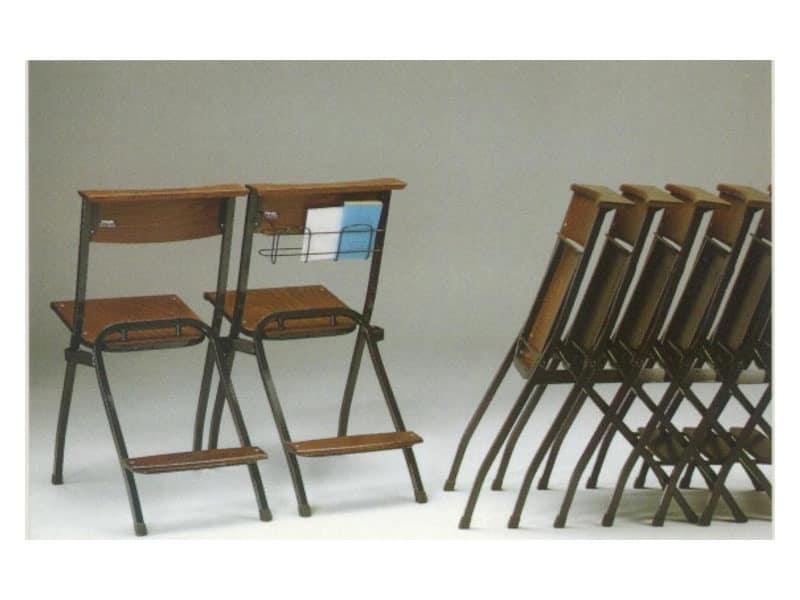 1273 R, Sessions metal, with seat and back in beech, for churches