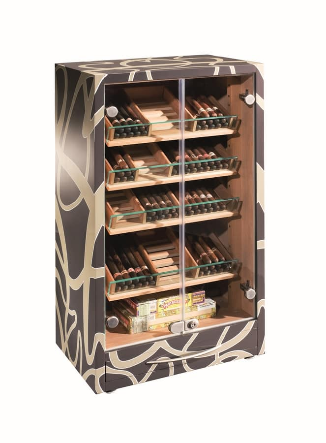 82447 Knotty, Humidor showcase in lacquered wood