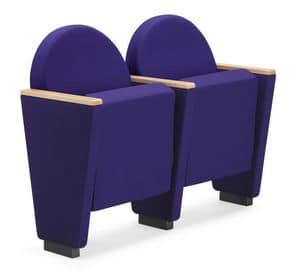 ARAN 581, Armchair for auditorium with upholstered frame