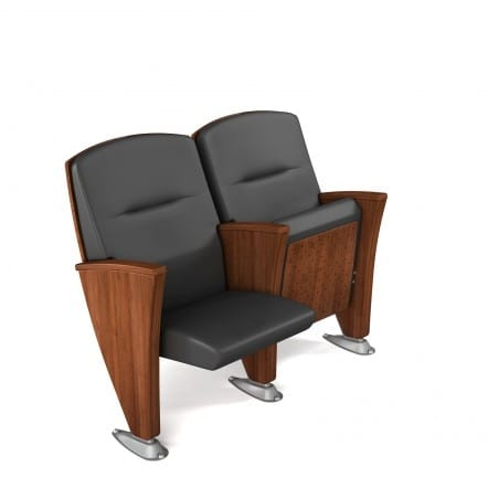EIDOS WOOD, Auditorium armchair, embellished with wooden details