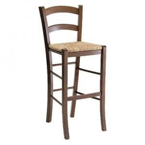 207 SG, Rustic barstool with straw seat, for wine bar