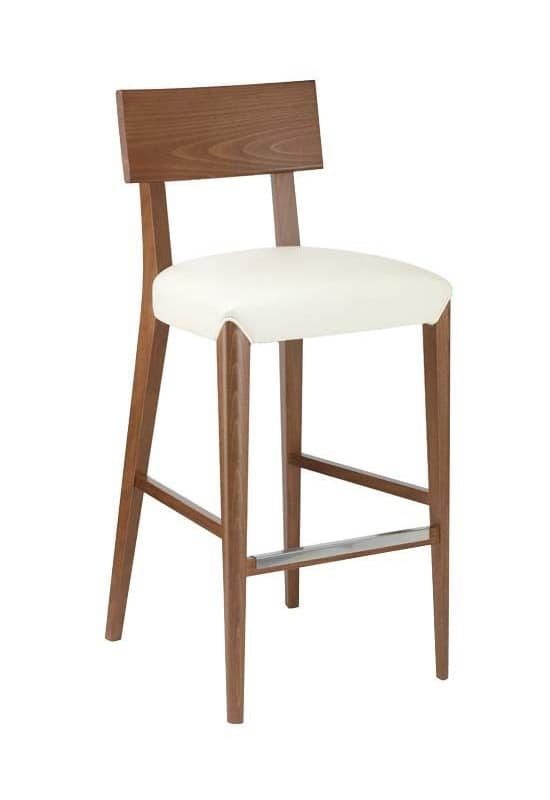 C40SG, Wooden barstool, padded seat, covered in fabric, for bars and restaurants