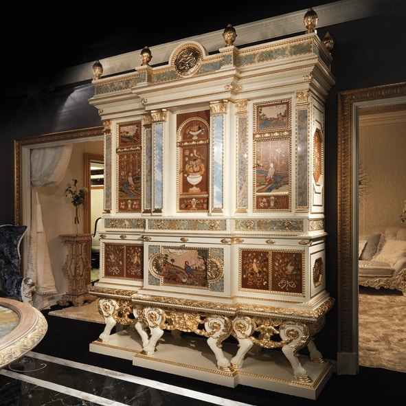 5794, Majestic piece of furniture with inlays and marbles