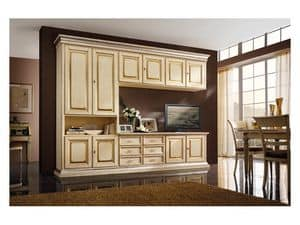 Art.0779/L, Wooden furniture for kitchens and living rooms, ivory colored