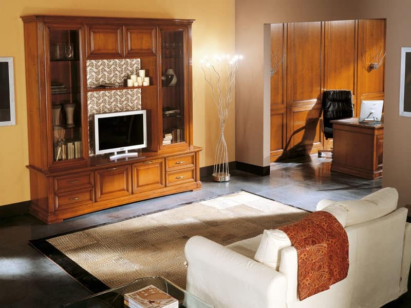 Art.103/L, TV-Stand made of solid wood, classic style