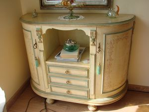 Art. 104, Cabinet with drawers and doors, in ivory coated