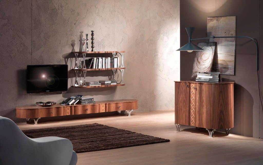 MB49 Mistral sideboard, Modern mobile veneer walnut, maple inlays