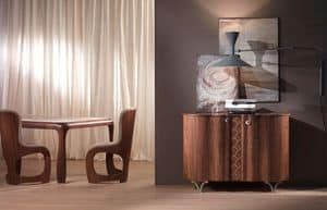 MB49 Mistral sideboard, Modern mobile veneer walnut, maple inlays