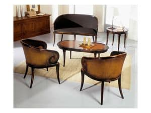 TOFEE round table 8179TL, Round coffee table in solid wood, classic style