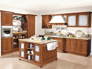 '800 cucina 200, Classic style kitchen, in national walnut wood