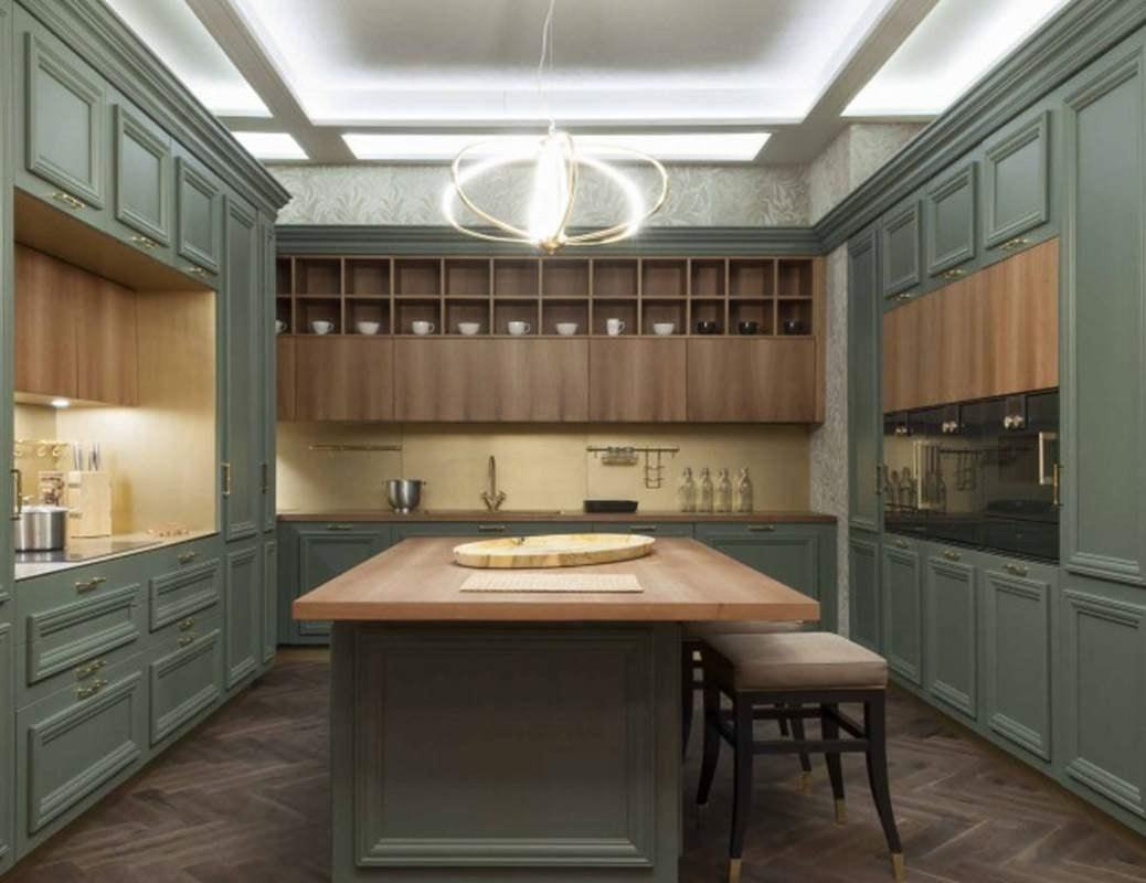 Amantea kitchen, Kitchen with island with walnut wood top