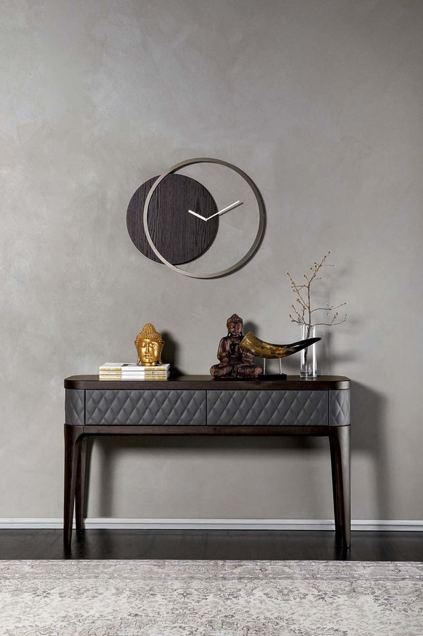 CIRCLE, Clock with metal frame and wooden panel