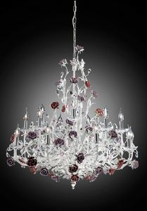 210112, Elegant white and silver chandelier