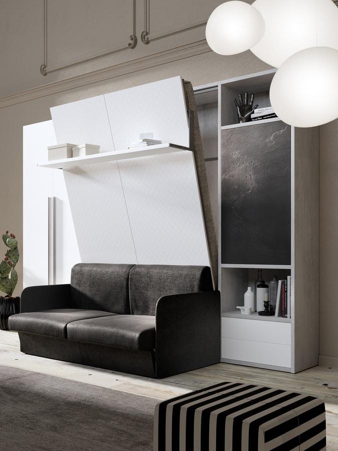 54011 54017 SALVASPAZIO, Wardrobe with space-saving bed