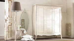 Amedeo wardrobe, Solid wood wardrobe, inlaid and decorated by hand