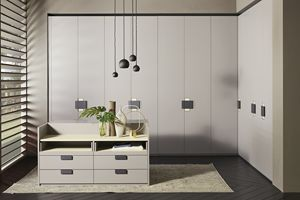 ATLANTE CHARME comp.01, Wardrobe with hinged doors, with an important leather handle