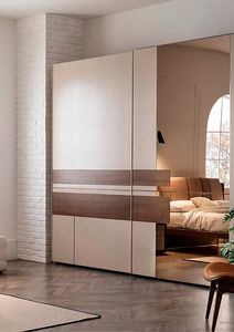 Aurea, Sliding door wardrobe with wooden inserts