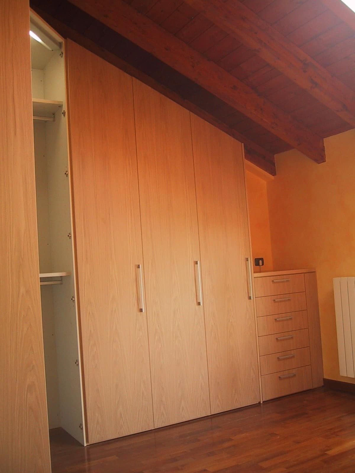 Corner shaped wardrobe for under-roof room, Closet for the attic, angular, tailor made
