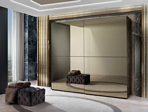 Incanto wardrobe, Wardrobe with mirrored sliding doors