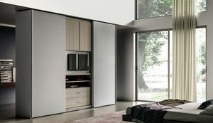 NARCISO, Wardrobe with openable TV stand