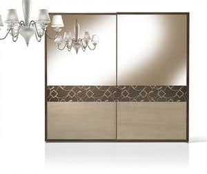 ST 716/S, Wardrobe with walnut doors coated with mirror