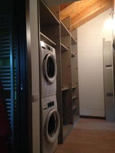 Under roof  hallway closet, Custom furniture for the attic, with space for washer and dryer