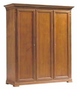 Villa Borghese wardrobe 7379, Wooden wardrobe with three doors, in Directoire style