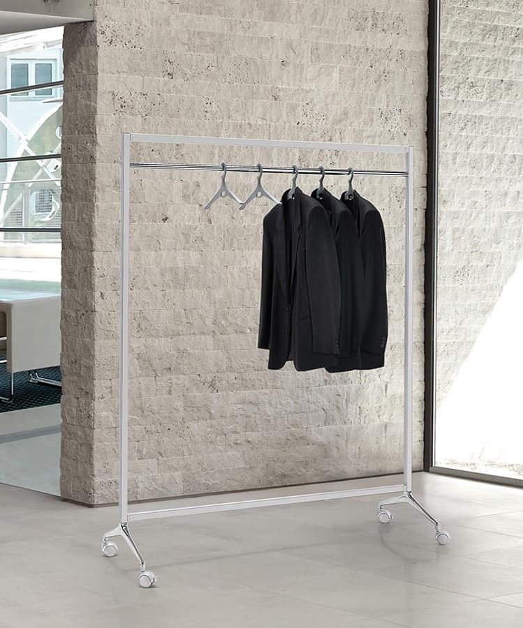 Archistand, Coat rack on wheels with varnished steel frame