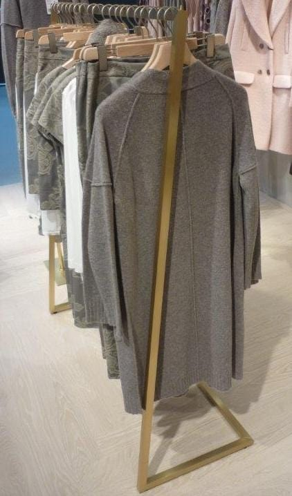 Clothes rail in brass, Hanger for clothing store
