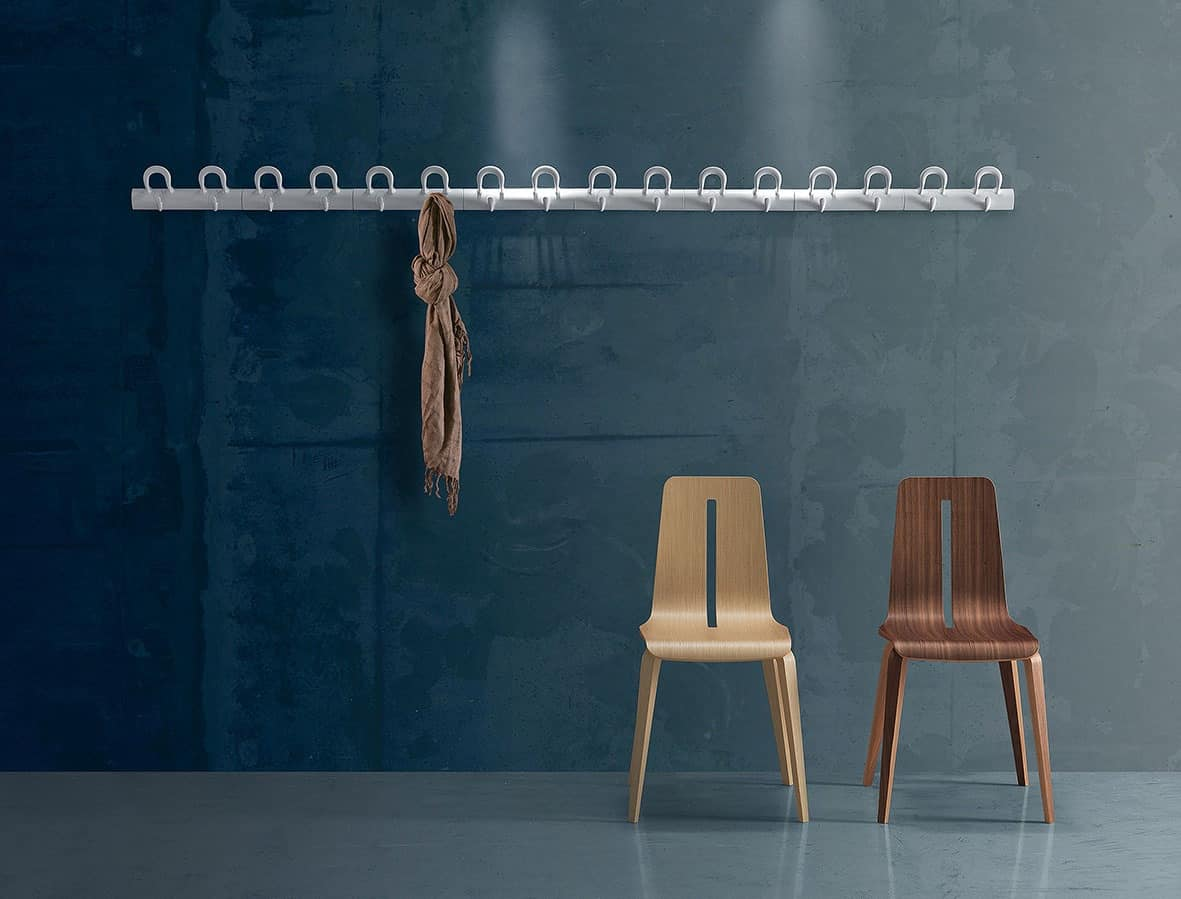 Duo wall-mounted coat-hooks, Modular wall coat in polymer