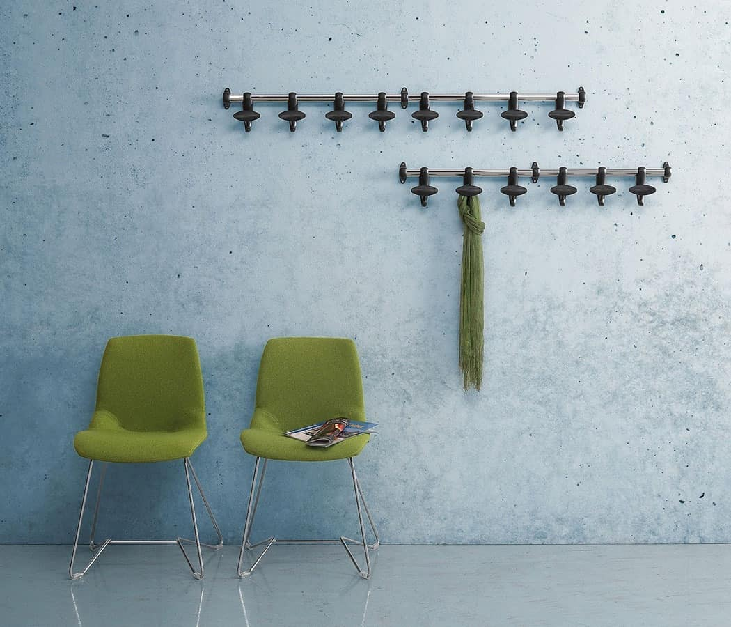 Hoow wall coat rail, Wall coat hanger steel and polycarbonate