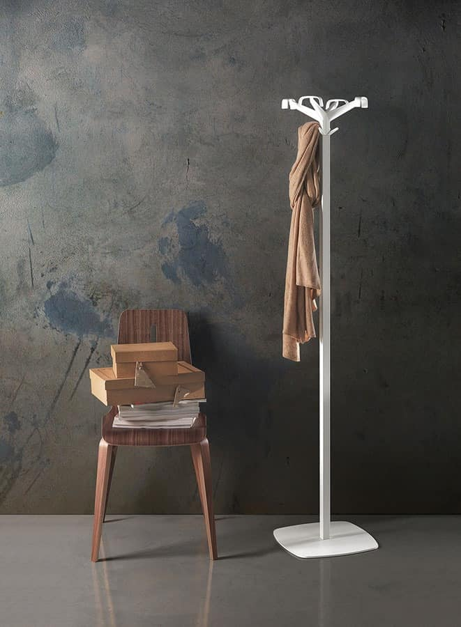 Quadrangolo, Coat stand made of steel, head in polycarbonate