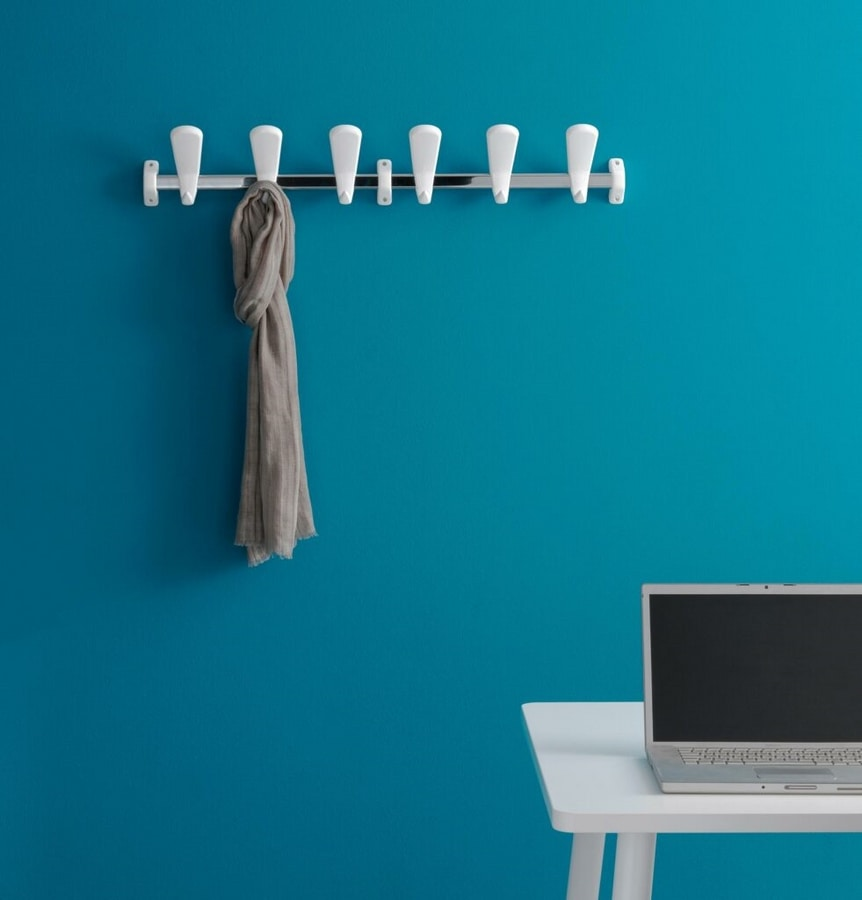 Swing wall coat rail, Modular Coat hook in steel and polymer