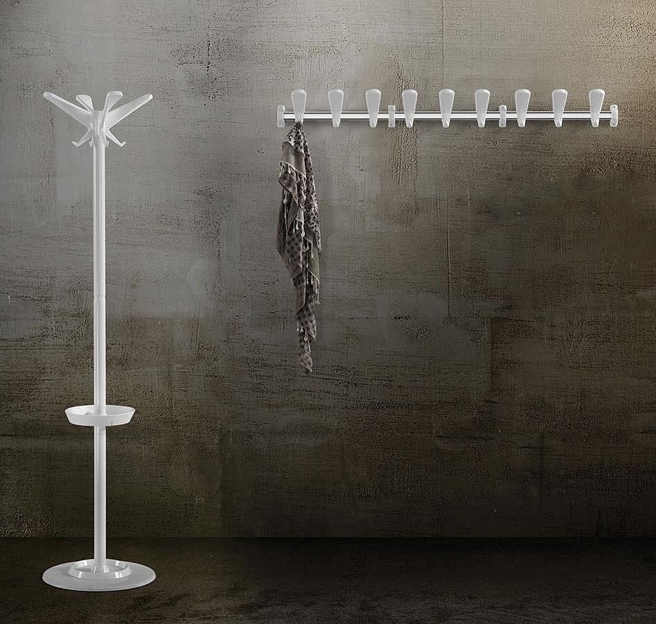 Swing wall coat rail, Modular Coat hook in steel and polymer
