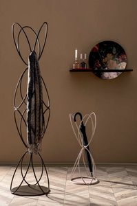 VANITY, Coat hanger and umbrella stand in lacquered metal wire