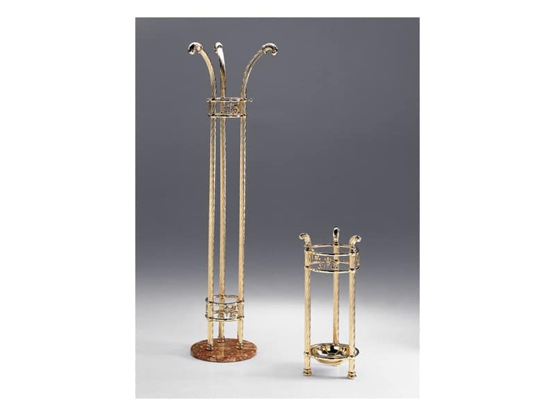 VIVALDI 1088 , Brass Clothes stand, marble base, for entrances