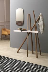 WOOD, Wooden coat stand with shelf for objects