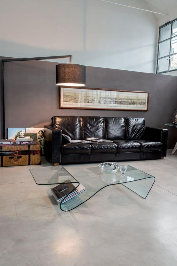 ALARIC, Glass coffee table, with magazine rack, for sitting room