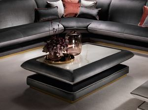ALLURE coffee table, Padded coffee table, with porcelain stoneware top